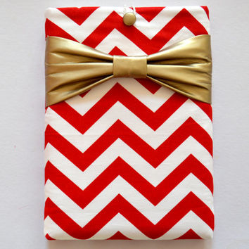 "Macbook Pro 13 Sleeve MAC Macbook 13"" inch Laptop Computer Case Cover Red & White Chevron with Metallic Gold Bow"