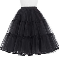 Belle Poque Retro Solid Tulle Skirt Black/White/Red Women Crinoline Petticoat Girls' Casual Underskirt for Summer Holiday Party