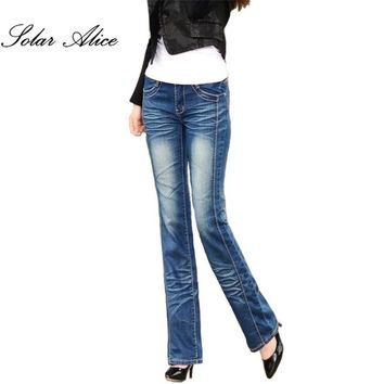 Promotion women's Bell bottom jeans plus size female slim cotton denim trousers water wash denim pants flares free shipping