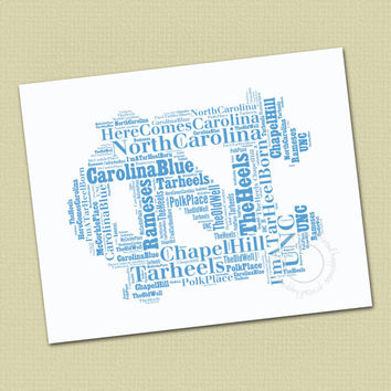 UNC - North Carolina  Mascot Wall Art - Office Art - Typography - Word Cloud - Choose color - Gift for your favorite Man