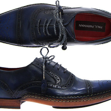 Paul Parkman Men's Cap-Toe Brogue Oxford Shoes - Navy & Black Hand-Burnished Leather Upper With Double Side-Stitched Leather Sole