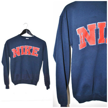 90s NIKE sweatshirt early 1990s vintage ATHLETIC pull over small NAVY blue sweater shirt