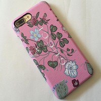 GUCCI iphone7 phone case 7plus paste leather phone case iphone 7 printing leather case retro Snow lotus pink