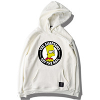 The Simpsons Off The Rail Mens Womens Hoodie Fleece Fashion Brand Trend Style Thick Hooded Sweatshirt Printed Hoodie Off White Black & Gray