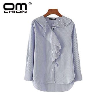 Irregular Women Shirts Loose Striped Ruffles Autumn Blouses Casual Ruffled Collar Long Sleeve Tops