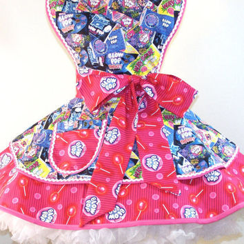 "Retro Apron ""Blow Pop"" Tossed Blow Pop Candy  -  Pin Up Style - Ready to Ship"