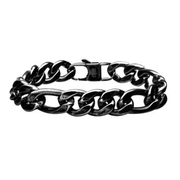 316L Stainless Steel Oxidized Antique 11mm Figaro Curb Bracelet 8.5""