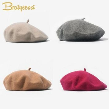 Fashion Wool Baby Hat for Girls Candy Color Elastic Infant Baby Beret Caps for Girls 1-4 Years 1 PC