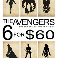 The Avengers Superheroes Iron Man, Hawkeye, Black Widow, Thor, Incredible Hulk and Captain America Superheroes Poster Set 11x17