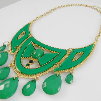Statement  Necklace Green & Gold Chest Plate Chandelier Beaded Collar Bib Statement NECKLACE - Turquoise