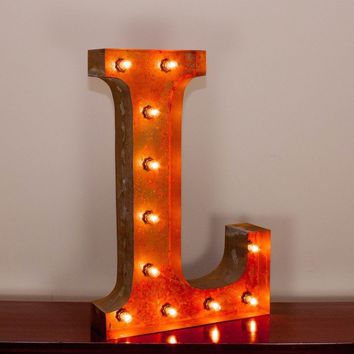"24"" Letter L Lighted Vintage Marquee Letters with Screw-on Sockets"