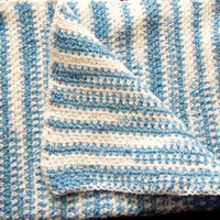 Blue & White Striped Baby Afghan