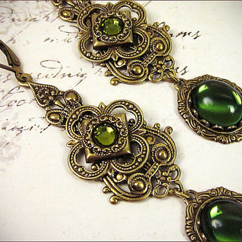 Renaissance Earrings, Olive, Green, Queen, Tudor, Costume, Medieval, Ren Faire, SCA Garb, Borgias, Bridal Jewelry, Your Choice of Color