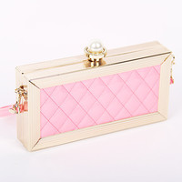 Pearl Clasp Quilted Grid PU Leather Clutch handbag