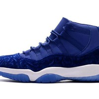 Air Jordan Retro 11 Velvet Blue Flowers Pattern Basketball Shoes Men Women 11s Royal B