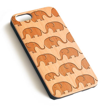 Elephant Pattern Natural wood iPhone case laser engraved iPhone 7 6 6S Plus case WA046