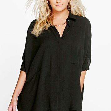 Cat Oversized Panel Detail Batwing Shirt | Boohoo