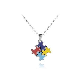 Mens Womens geometry Couples Autism Puzzle Pendant Love Necklace Colorful Enamel Friendship Jewelry Party Gift