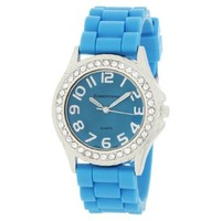 Cerentino Women's 2005R-T Crystal Bezel Boyfriend Turquoise Silicone Rubber Strap Watch