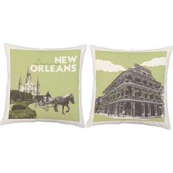 Vintage New Orleans Travel Poster Throw Pillows