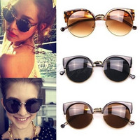 Fashion style Semi-circular Frame Sunglasses Retro Cat Eye Women Sunglasses = 1929734020