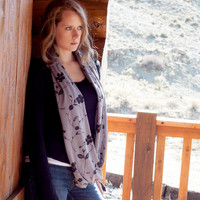 Grey Floral Infinity Scarf, Gray Black Flowers, Paisley Pattern Scarf, Circle Loop Scarf  Wide Women Accessory