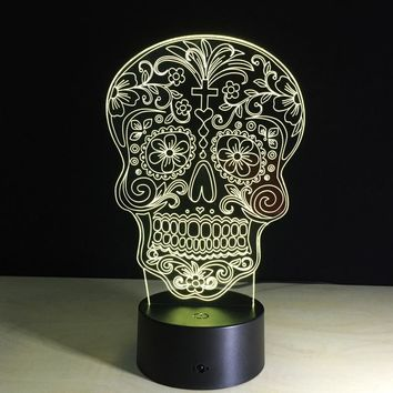 Free Shipping Touch Sensor colorful 3D Skull Head LED Night Lights of Crossbones USB table lamp for night Lightsaber