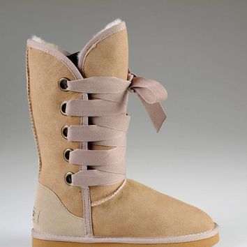 ESBON UGG 5818 Tall Lace-Up Women Fashion Casual Wool Winter Snow Boots Sand