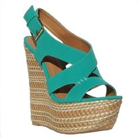 Women`s Qupid Green Strappy Open Toe Platform Wedge (Collide04): Shoes