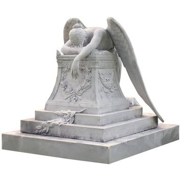 White Carrera Marble Angel of Grief Statue, hand-carved reproduction