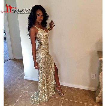 Gold Sequins Long Prom Dresses 2016 Sexy Thigh High Slits Magnetic Halter Vestidos De Fiesta 2016 Hollow Back Mermaid Prom Gowns