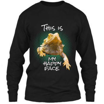 This Is My Happy Face Bearded Dragon Funny Reptile  LS Ultra Cotton Tshirt