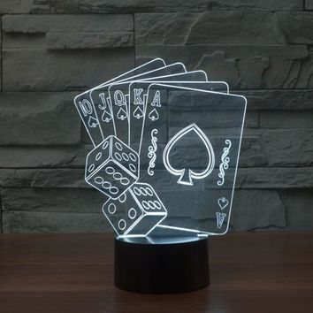 Playing Cards & Dice 3D LED Night Light Lamp