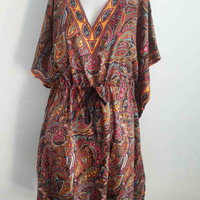 Thai Hippie hobo poncho Kaftan Tunic women Dress African Butterfly Vintage  Beach Sundress  Free Size