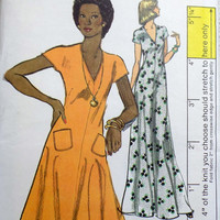 Vogue 8848 Sewing Pattern Retro 70s Boho Hippie Style Pullover Dress Caftan Tunic Flared Skirt A-line Gown Plus Size Bust 38