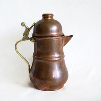 Vintage COPPER COFFEE POT Handmade tankard, small serving pitcher. Earthy milk jug. Brass handle & hinged lid. Farmhouse country home decor