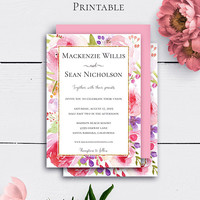 Watercolour Floral Invitation Printable, Blush Floral Wedding Invite, Wedding Card, Gold Glitter, Bohemian Invitation, Customized Wedding