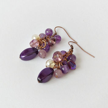 Amethyst earrings, dangle earrings, purple earrings, grape cluster earrings, birthstone earrings, fashion jewelry, wire wrapped earrings