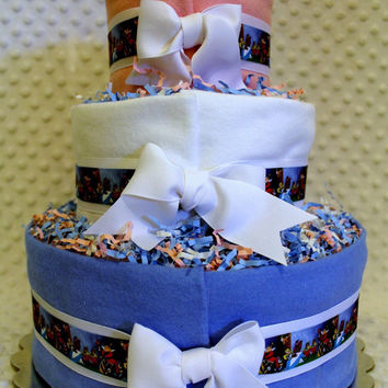 Baby Diaper Cake Alice in Wonderland Book Theme Shower Gift or Centerpiece