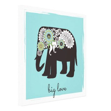 Paisley Elephant Big Love Cute Modern Turquoise Canvas Print