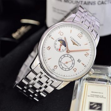 DCCK L053 Longines Automatic Business Fashion Elegant Noble Steel Watchand Watch White Maroon