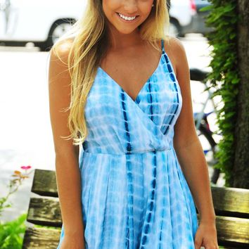 Wave After Wave Romper: Blue Tie Dye - Hope's Boutique