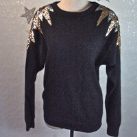 1980s Vintage Sequined Sweater Black Slouchy Art Deco Ziggy Stardust with Sequin Shoulders