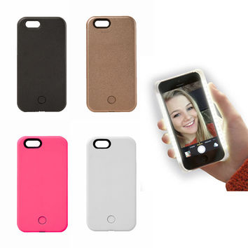 Selfie Light-Up Case Luxury  LED Cover  With Charging Cable for iPhone 5 6 6s 6 plus/ Or Samsung s6