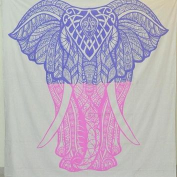 Two Tone Purple Pink Elephant Bohemian Boho Wall Beach Bed Tapestry