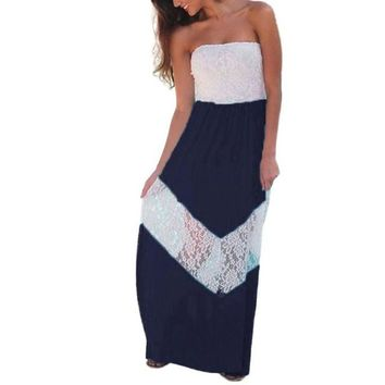 Womens Summer Maxi Dresses 2017 Ladies Boho Patchwork Sleeveless Dress Strapless Vintage A Line Long Beach Dress Vestido #63