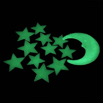 Mosunx Business New Moon Stars Color Glow In The Dark Luminous Fluorescent Wall Stickers Decal