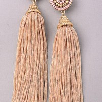 Topanga Tassel Earrings - Taupe