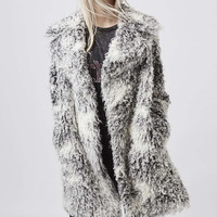 Curly Faux Fur Double Breasted Coat