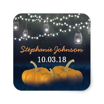 Fall Pumpkin Outdoor Blue Baby Shower Square Sticker